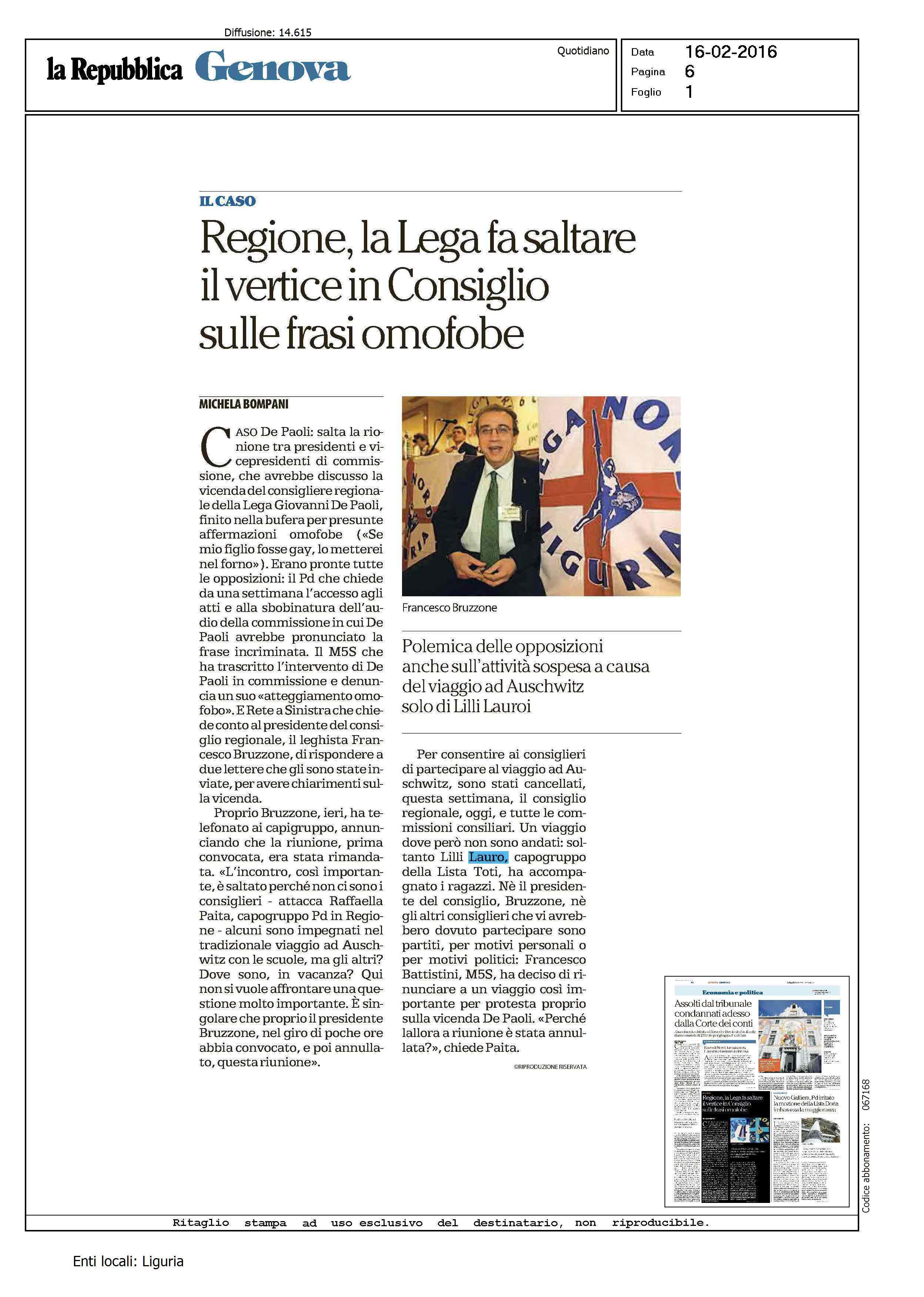 09 02 2016 Rassegna stampa – Genova pronta a diventare citt dell inno