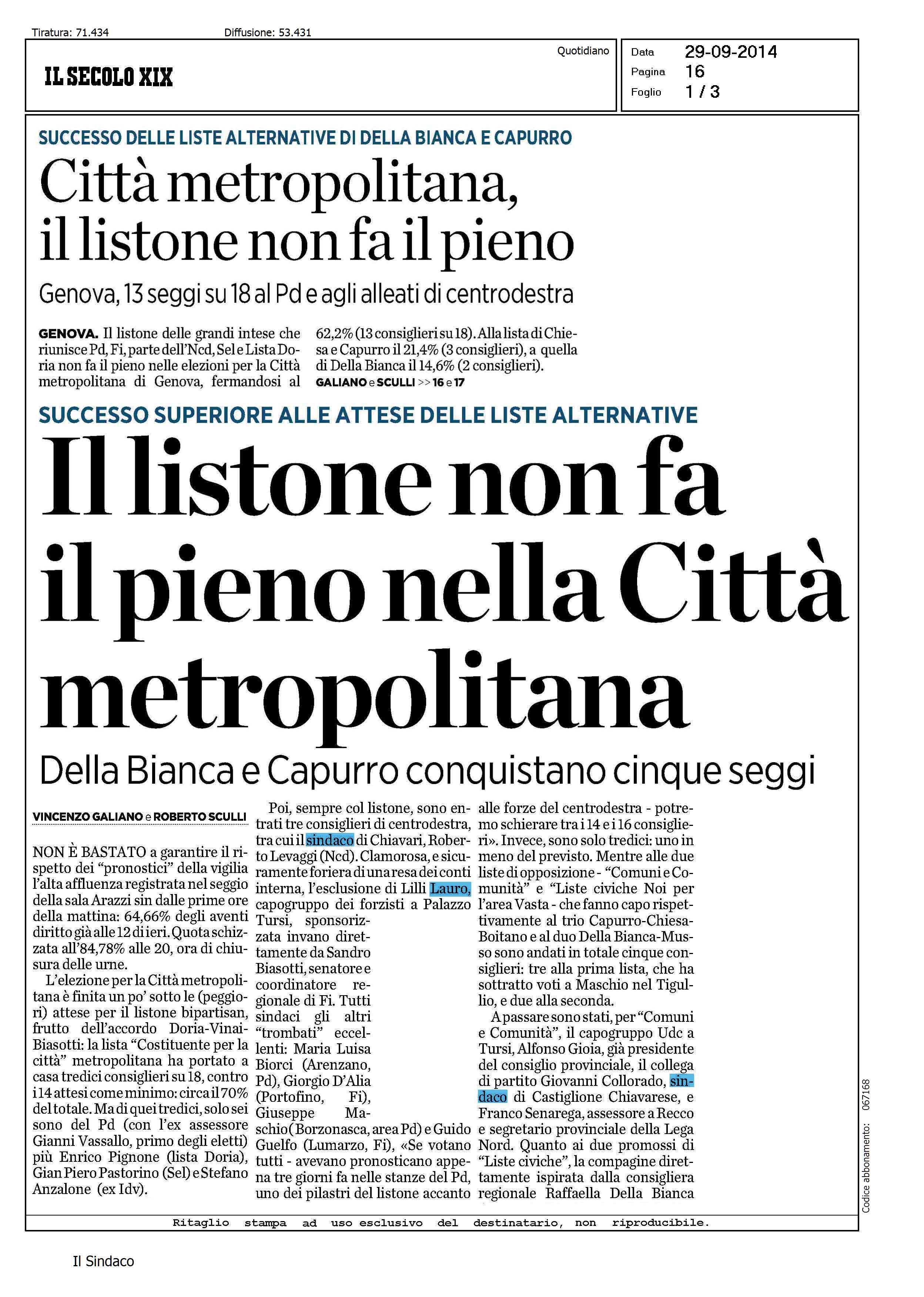 29 09 2014 Rassegna stampa – Il Listone non fa il pieno nella Citt Metropolitana