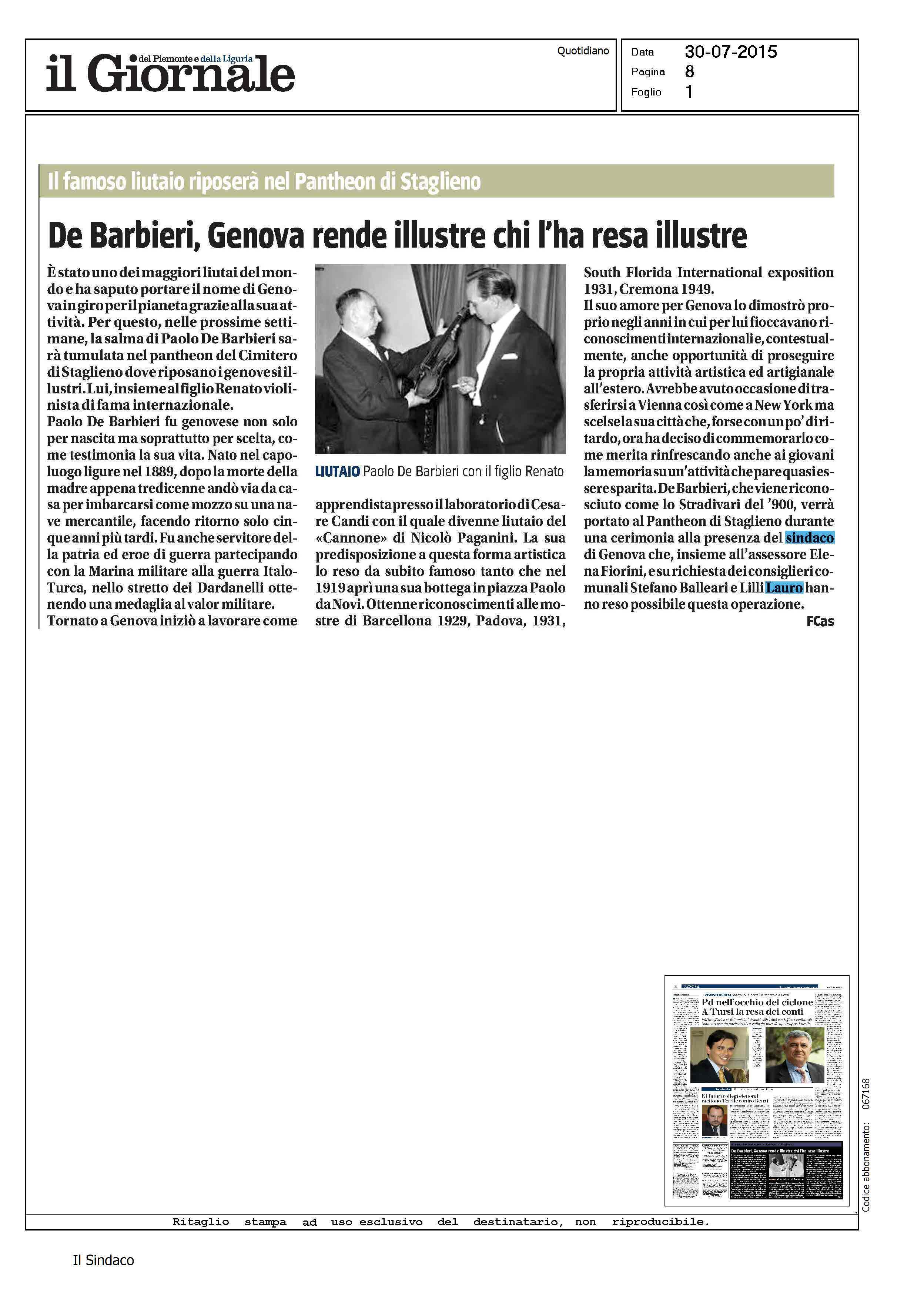30 07 2015 Rassegna stampa – De Barbieri Genova rende illustre chi l ha resa illustre